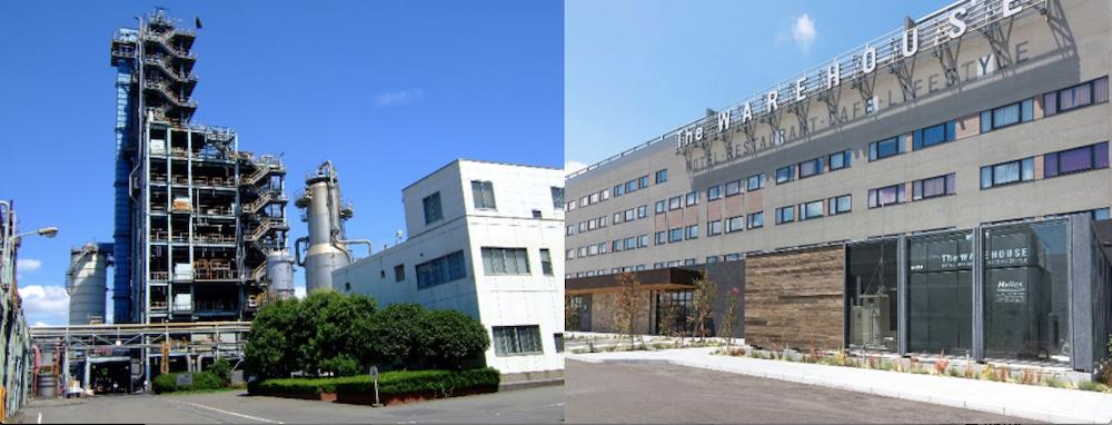 ซ้าย โรงงานรีไซเคิลพลาสติก ขวา โรงแรม คาวาซากิ คิง สกายฟรอนต์ โตคิว เร 2